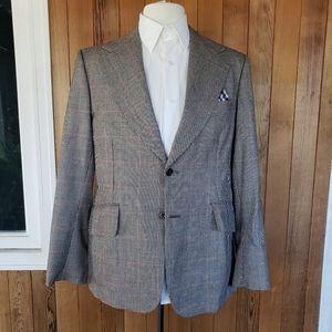 Vintage Black & White Houndstooth 100% Wool Blazer